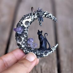 Items similar to Black Cat Pendant, Crescent Sailor Moon Pendant, Amethsyt Crystals Necklace, Polymer Clay Pendant, Cat jewelry on Etsy Polymer Clay Pendant, Polymer Clay Crafts, Polymer Clay Jewelry, Polymer Clay Dragon, Clay Beads, Clay Earrings, Fantasy Jewelry, Gothic Jewelry, Witch Jewelry