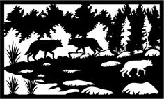 Forest Silhouette, Wolf Silhouette, Creative Lamps, Metal Railings, Bear Paws, Scroll Saw Patterns, Metal Art, Art Images, Paper Cutting