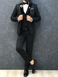 Collection: Spring – Summer 2020 Product: Slim Fit Tuxedo Color Code: Black Size: Suit Material: satin fabric, lycra Machine Washable: No Fitting: Slim-fit Package Include: Jacket, Vest, Pants Gifts: Flower, Chain and Bow Tie Slim Fit Tuxedo, Tuxedo Suit, Tuxedo For Men, Green Tuxedo, Black Tuxedo, Green Suit, Mens Fashion Suits, Mens Suits, Suit Men