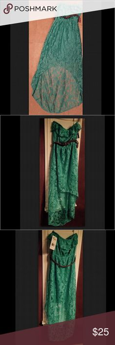 "Trixxi Lace Strapless Mint Green Maxi Dress Sz XS Trixxi XS Mint Green Lace gorgeous summer dress featuring high-low full length back and shorter front • Strapless style. Elastic band stretches for easy chest fit. Ruffle trim. • Lined for no show-through. Floral detail lace in mint green color. • Comes with brown braided belt. Elastic band at waist. • 100% Polyester. Hand Wash Cold, Lay flat to Dry • Size XS - Fits best chest 33"" - 34.5"", waist 24"" - 25.5"", hips 34"" - 35.5""  • NWT - New With…"