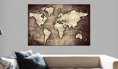 Decorative pinboard - Precious World. Beautiful cork maps by GLIX Cork Map, Cork Bulletin Boards, Map Art, The Ordinary, Screen Printing, Vintage World Maps, Wall Decor, Tapestry, Canvas