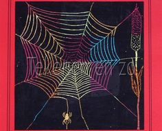 Spider web You need: white drawing paper from 20 by 20 cm oil pastel crayons black paint brushes toothpicks coloured construction paper I. Artists For Kids, Art For Kids, Kratz Kunst, Oil Pastel Crayons, Theme Halloween, October Art, Scratchboard Art, Black Construction Paper, Drawing Sheet
