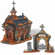 """Sleepy Hallow Church    Size: 4.5 x 8 x 8.75"""", 6 x 5 x 5.25""""  Set of 2  Collector Notes:   Introduced December, 2008    Your Price: $56.00  On sale: $47.60"""