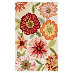 Hand-tufted rug with a floral motif.  Product: RugConstruction Material: 100% PolyesterColor: Pi...