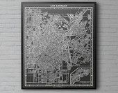 Los Angeles Map Print :  Black and White Los Angeles 1900s vintage large map print poster Version #1