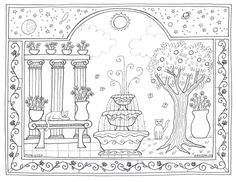 Garden Coloring Pages, Cat Coloring Page, Adult Coloring, Free Printable Coloring Pages, Free Coloring Pages, Free Printables, Colorful Garden, Adult Colouring In, Free Colouring Pages