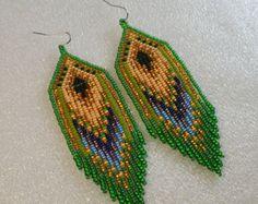 Aretes de perlas de estilo largo indio - estilo tribal, estilo boho, pendientes de peyote, nativo americano de cuentas pendientes