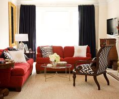 living room - ideas for red couch