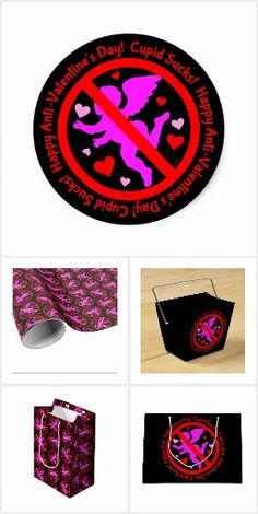 Anti-Valentine's Day Party Supplies and Gift Wrapping at Zazzle  #AntiValentinesDay #CupidSucks #AntiLove #NoCupid #GiftWrap #Party