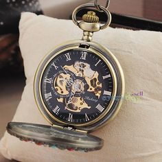 Retro Colorful Crystal Cover Skull Pocket Watch Mechanical Steampunk Bronze Gift
