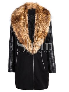 Black PU Leather Sleeve Faux Fur Lapel Coat 54.17