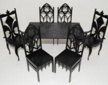 Mobili gotici 2 trono 4 sedie tavolo nero bambole 1:6 1/6 barbie fr OOAK in legno