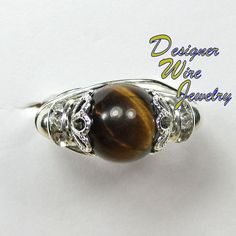 DWJ0160 Lovely Yellow Tiger Eye Wire Wrap Ring All Sizes
