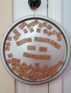 via Design Mom Living With Kids: Ginger Johnson (kids arts and crafts with feathers) Scrabble Tile Crafts, Scrabble Letters, Magnetic Letters, Cute Crafts, Crafts To Make, Crafts For Kids, Adult Crafts, Fall Craft Fairs, Dollar Tree Crafts