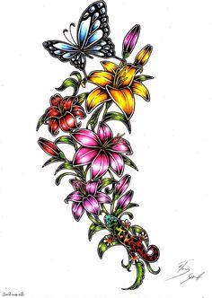 taurus and scorpio tattoo Lilly Flower Tattoo, Heart Flower Tattoo, Butterfly With Flowers Tattoo, Butterfly Art, Flower Tattoos, Tattoo Stencil Designs, Flower Tattoo Stencils, Star Tattoo Designs, Butterfly Tattoo Designs