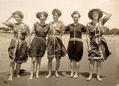 1908, women in bathing costumes on Collaroy Beach.