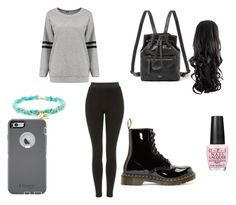 """Plain black and grey ◼️◻️"" by hoodiesforlife on Polyvore featuring Topshop, Dr. Martens, FOSSIL, OPI and OtterBox"