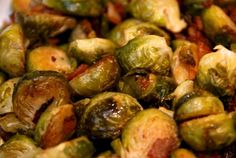Roasted Brussels Sprouts and Bacon | Nom Nom Paleo - Soooo easy and amazingly delish!   I could have eaten this as my meal.   Used just olive oil and S