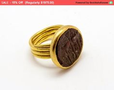 Sale!! 15% 18k gold ring- Ancient roman silver coin- Roman gold coin ring- signet gold coin ring-Coin seal ring-18k gold coin ring-Statm...