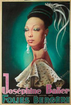Josephine Baker Folies Bergere poster 1949