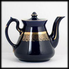 Hall Blue Standard Gold Philadelphia Teapot Vintage Pottery 4 Cup