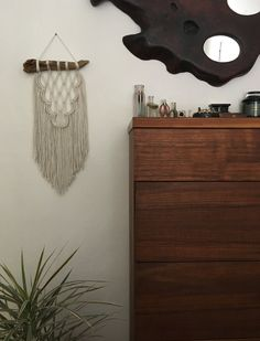 Handmade macramé wall hanging made with cotton rope attached to a piece of driftwood found on Manzanita Beach off the Oregon Coast. Macramé measures x Driftwood measures Manzanita Beach, Yarn Wall Art, Cotton Rope, Driftwood, Macrame, Instagram Posts, Handmade, Etsy, Home Decor