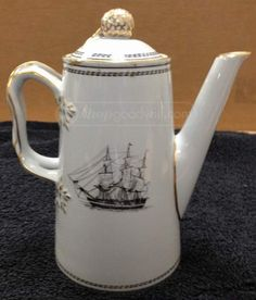 Spode Copeland England, Pine Stone Teapot  Bottom is marked White Diamond Linet Anglo American  8 in T x 7 in W