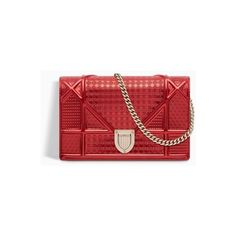 Diorama wallet on chain clutch in red metallic calfskin with... ❤ liked on Polyvore featuring bags, handbags, clutches, calfskin leather handbags, red clutches, metallic clutches, metallic purse and chain purse