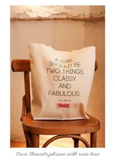 KlassDSign vászontáska - Coco Chanel felirattal tetszőlegesen válaszott  masnival (klassdsigntotebags) - Meska.hu ba752ee985