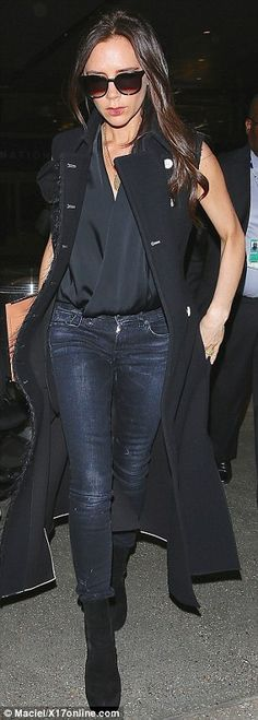 Black is the new black: The star wore mostly black pieces with a pair of skinny designer jeans