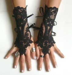 Black lace gloves french lace  bridal gloves lace wedding fingerless gothic gloves black camarilla  burlesque  vampire glove guantes 0030 by GlovesByJana on Etsy