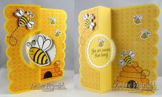 handmade greeting card: Happy Bee-day by stampwithkristine  ... luv this cheerful yellow card with happy bees all over ... circle flip-it format ... Sizzex die ... large scalloped edges ... great patterned paper with subtle design of overlapping hexagon lines ...
