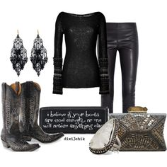 Boots by dixi3chik on Polyvore featuring Donna Karan, Joseph, Hoss, Amrita Singh, Pamela Love, Antler, sequins, cowboy boots, leather leggings and box clutches