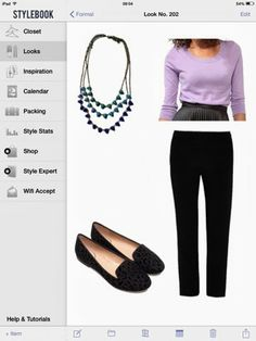 What to wear for a morning opening: lilac sweater, black pants, black loafers, blue necklace