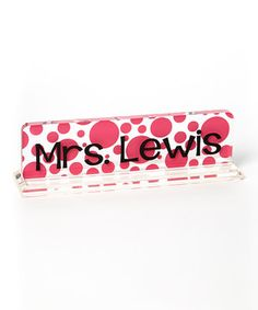 Another great find on #zulily! Hot Pink Polka Dot Personalized Desk Name Plate by Say It Sassy #zulilyfinds