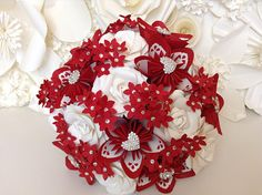 paper bouquet red white paper flower bouquet origami flowers