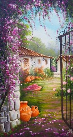 The open gate Yards/balconies/patios/lanes Pictures To Paint, Art Pictures, Landscape Art, Landscape Paintings, Fine Art, Beautiful Paintings, Pretty Pictures, Painting Inspiration, Scenery