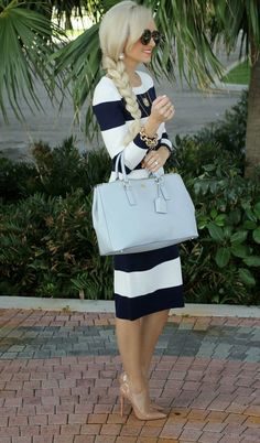 .Love the sailor look. Perfect with a hat and sandals.