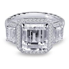 Diamonvita Couture® 4 3/8 ct. tw. Three-Stone Swarovski Zirconia Ring in Sterling Silver