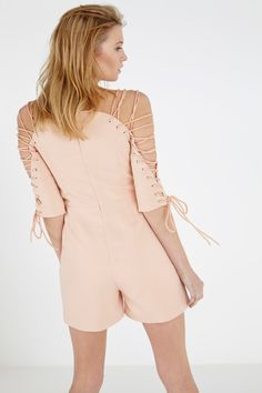 Nude Lace Up Sleeve Structured Playsuit•Back View