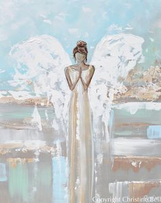 PRINT Angel Painting Abstract Guardian Angel Inspirational Wall Art – Contemporary Art by Christine Angel Artwork, Angel Paintings, Angel Wings Painting, Portrait Paintings, Art Paintings, Art Mur, Baby Girl Room Decor, Angel Drawing, Painting & Drawing