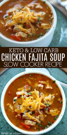 Crock Pot Chicken Fajita Soup - Low Carb Crock Pot Chicken Fajita Soup Recipe - - Crock Pot Chicken Fajita Soup is easy to make and tasty. The entire family will enjoy this Low Carb Crock Pot Chicken Fajita Soup recipe. It's also budget friendly. Fajita Soup Recipe, Chicken Fajita Soup, Low Carb Chicken Soup, Chicken Crock Pot Meals, Healthy Chicken Fajitas, Low Carb Vegetable Soup, Healthy Crock Pot Meals, Crock Pot Dinners, Chicken Enchilada Soup