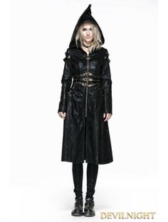 Black Leather Witch Style Gothic Coat for Women - Devilnight.co.uk
