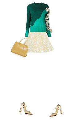 """""""dress up with you. Skirt and sweater and heels and bag. Classic pretty outfit. GREEN AND GOLD DELPOZO."""" by kohlanndesigns ❤ liked on Polyvore featuring Delpozo and fashionset"""