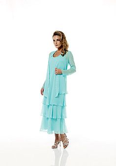 ankle length scoop wrap long sleeve chiffon a-line mother of the bride dress