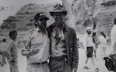 -Steven Spielberg and Harrison Ford on the set of 'Indiana Jones and ...