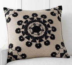 Pom Pom Medallion Embroidered Pillow Cover - 24"
