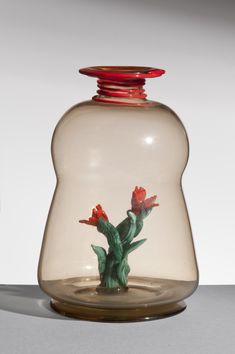 vase by artist Napoleone Martinuzzi Venini Le Stanze Del Vetro, Venice Decoration, Art Decor, Landscape Materials, Crystal Vase, Interior Garden, Venetian Glass, Decorative Bells, Glass Art, Sculptures