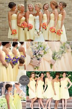 2015 soft melon yellow wedding color ideas and bridesmaid dresses trends #tulleandchantilly