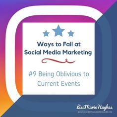 Ways To Fail At Social Media Marketing: #9 Being Oblivious to Current Events  Automation can be great when youre managing several social media accounts. Using sites like Hootsuite to schedule your posts can save you lots of time; however you need to remain aware of current events.  If some terrible tragedy has occurred a tweet about your newest promotion or a funny dog meme will very likely come off as distasteful.  So do you want to learn how to Crush it on Instagram?  Imagine adding an…